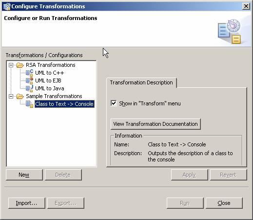 图4 Model-to-Text转换已经注册到模型转换框架中