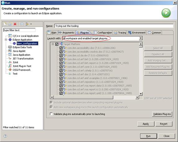 利用 uml/图6. 准备利用Run 对话框来开始运行您的应用软件