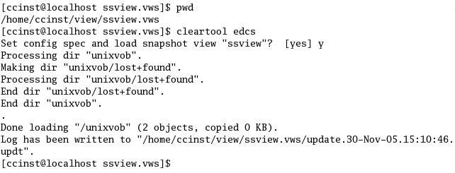 Fig5.6 编写静态视图的Config Spec并装载VOB