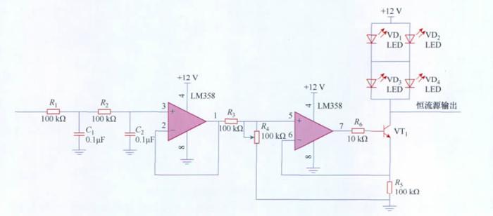 图7 恒流驱动电源电路图 图7 中电源的输出电流与UPB5 成正比,当UPB5 保持恒定时,可保证该电源的输出电流恒定。同时,UPB5 可以通过单片机的PWM 输出进行调节,从而实现输出电流的可控,调节LED亮度。 4.系统功能 集中控制器的显示模块采用常用的字符型液晶模块12864; 时钟模块采用具有万年历功能的实时时钟专用芯片DS1302; 声光报警模块采用了普通的发光二极管和蜂鸣器。 程序采用AVR Studio 软件编写,并经GCC 编译器编译通过。每个带有地址的单元控制器能通过GPRS 模块可